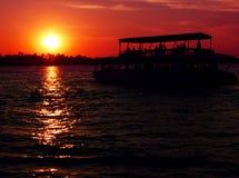 Solnedgångkryssning över Zambezi Arkivbild