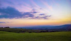 Solnedgångkullar Ashburton Royaltyfri Bild