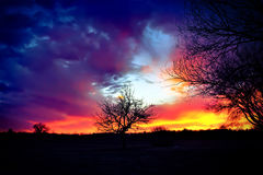 Solnedgånglöneförhöjning Arkivbilder