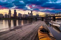 Solnedgånglandskap av Portland, Oregon, USA. Arkivfoto