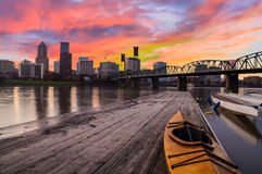 Solnedgånglandskap av Portland, Oregon, USA Royaltyfri Fotografi