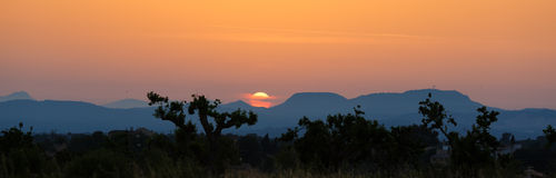 Solnedgånglandskap i Mallorca Royaltyfri Foto