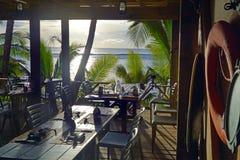 SolnedgånglandskapRarotonga kock Islands Arkivbild