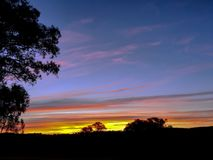 Solnedgånglandsnsw Australien royaltyfri foto