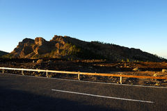 Solnedgångljus över den Teide nationalparken Fotografering för Bildbyråer