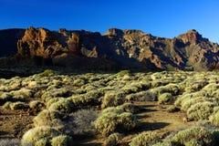 Solnedgångljus över den Teide nationalparken Arkivbilder