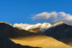 Solnedgångljuset på berget på Ladakh Indien Arkivbilder