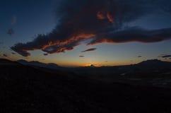 Solnedgångmoln Arkivfoto