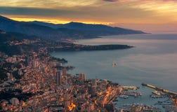 Solnedgångmonte - carlo Monaco arkivfoton