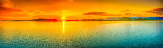 Solnedgångpanorama Arkivbilder