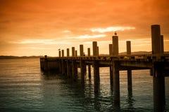Solnedgångpir, Nya Zeeland Royaltyfria Foton