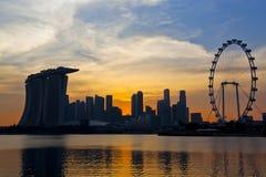 Solnedgångplatser av Singapore Cityscape Royaltyfria Bilder