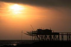 Solnedgångponton arkivbild