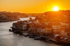 SolnedgångPorto landskap Royaltyfri Bild