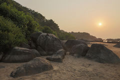 Solnedgångpunkt Goa Arkivfoto