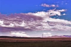 Solnedgångpunkt, svart kanjonstad, Yavapai County, Arizona, Förenta staterna royaltyfria foton