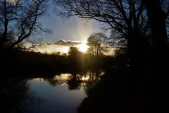 Solnedgångreflexion Arkivbilder