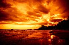 SolnedgångSeascape royaltyfri bild