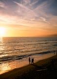 SolnedgångSeascape av Santa Monica Beach Fotografering för Bildbyråer