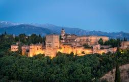 Solnedgångsikt av Alhambra, Granada, Spanien Arkivbilder