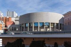 Solnedgångsikt av byggnad av senatstaden av Madrid, Spanien arkivbilder