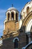 Solnedgångsikt av kyrkliga Sveti Sedmochislenitsi i stad av Sofia, Bulgarien Arkivfoto