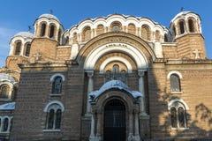 Solnedgångsikt av kyrkliga Sveti Sedmochislenitsi i stad av Sofia, Bulgarien Royaltyfria Bilder