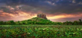 Solnedgångsikt av Lion Rock i Sigiriya, Sri Lanka Royaltyfri Fotografi