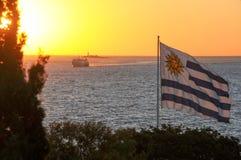 Solnedgångsikt från Colonia del Sacramento Fotografering för Bildbyråer