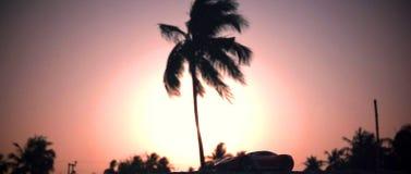 Solnedgångsikt, medan resa arkivbild