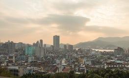 Solnedgångsikt på Guia Fortress i Macao, Kina Fotografering för Bildbyråer