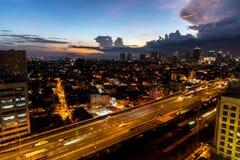 Solnedgångsikt på Manila royaltyfri foto