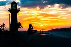 Solnedgångsiktshav på Pratumnak Arkivfoton