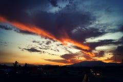 Solnedgångstad fotografering för bildbyråer