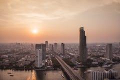 Solnedgångstad i bangkoken Royaltyfria Foton