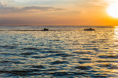 Solnedgångstrand på Bangsaen Royaltyfri Bild