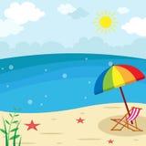 Solnedgångstrandlandskap - vardagsrumstol med paraplyillustrationen, semesterperiodsommarbakgrund royaltyfri illustrationer