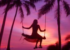 solnedgångswing Royaltyfri Foto