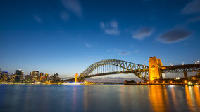 SolnedgångSydney Harbor bro Royaltyfri Foto