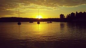 SolnedgångSydney horisont från fartyget Royaltyfria Foton