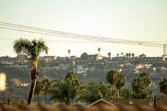Solnedgångtaksikt av Baldwin Hills arkivfoto