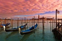 Solnedgångtid i Venedig, Italien. Royaltyfri Fotografi