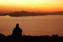 solnedgångtiticaca för 4 lake Arkivfoto