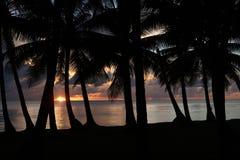 SolnedgångTruk lagun Chuuk Microneasia 1 royaltyfria foton