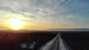 Solnedgångväg till norden arkivfilmer