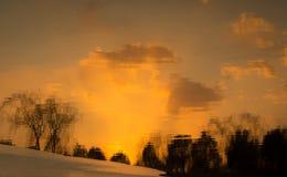 Solnedgångvattenreflexion Royaltyfri Fotografi
