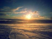 Solnedgångvintertid Arkivbilder