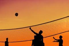 solnedgångvolleyboll Royaltyfri Foto