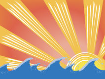 solnedgångwaves Arkivbild