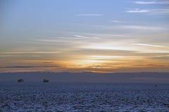 Solnedgångwesterscheldevlissingen Arkivfoton